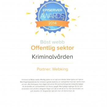 Kriminalvårdens webbplats bästa webb offentlig sektor - episerver awards 2014