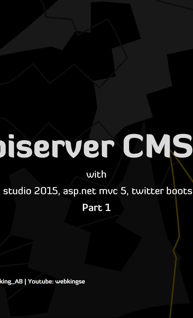 Episerver CMS 9 Visual studio 2015, asp.net mvc 5, twitter bootstrap 3