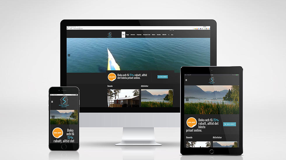 Svinö Stugby Sea Villas & Lodges – hemsida med publiceringsverktyg